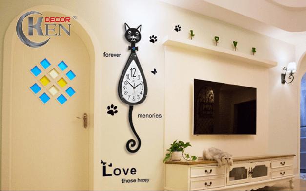 Gian phòng sẽ trở nên sinh động hơn với đồng hồ hình con mèo độc đáo tại KenDecor