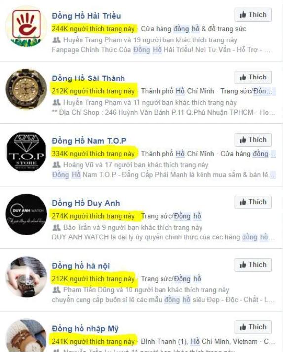 Kinh doanh đồng hồ trên Fanpage Facebook