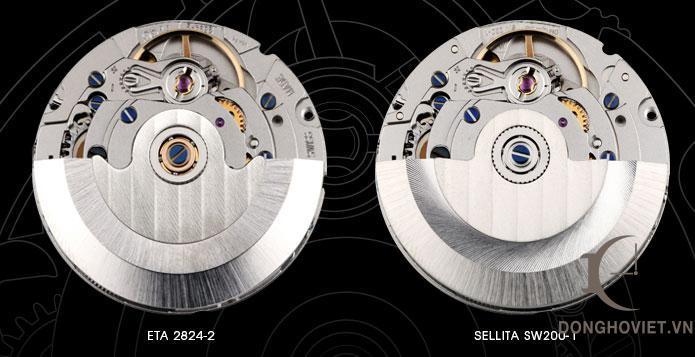 Hình ảnh bộ máy ETA 2824-2 và Sellita SW 200-1