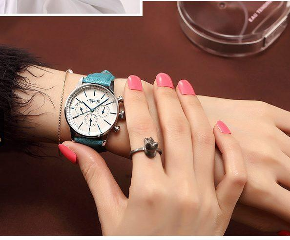 Đồng hồ nữ Julius Hàn Quốc Ja-862 dây da chạy 6 kim sale off ...