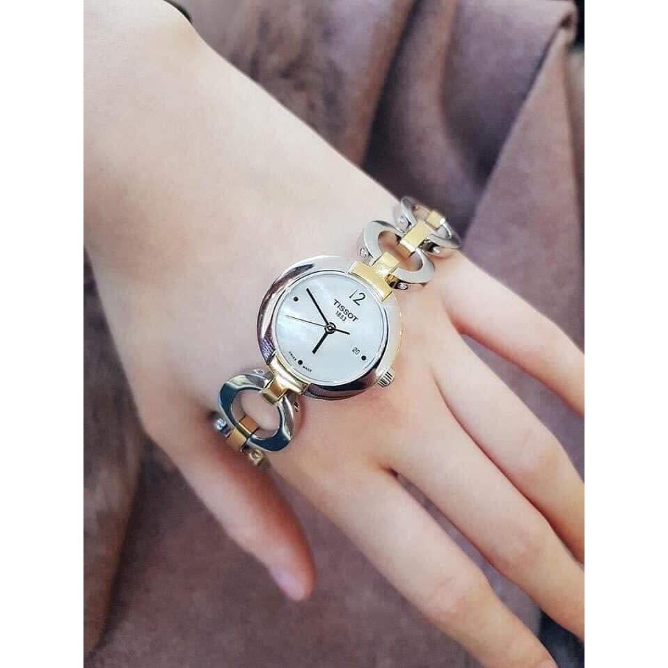 Đồng hồ nữ Tissot khảm trai dây xích đẹp sang xịn. | Shopee Việt Nam