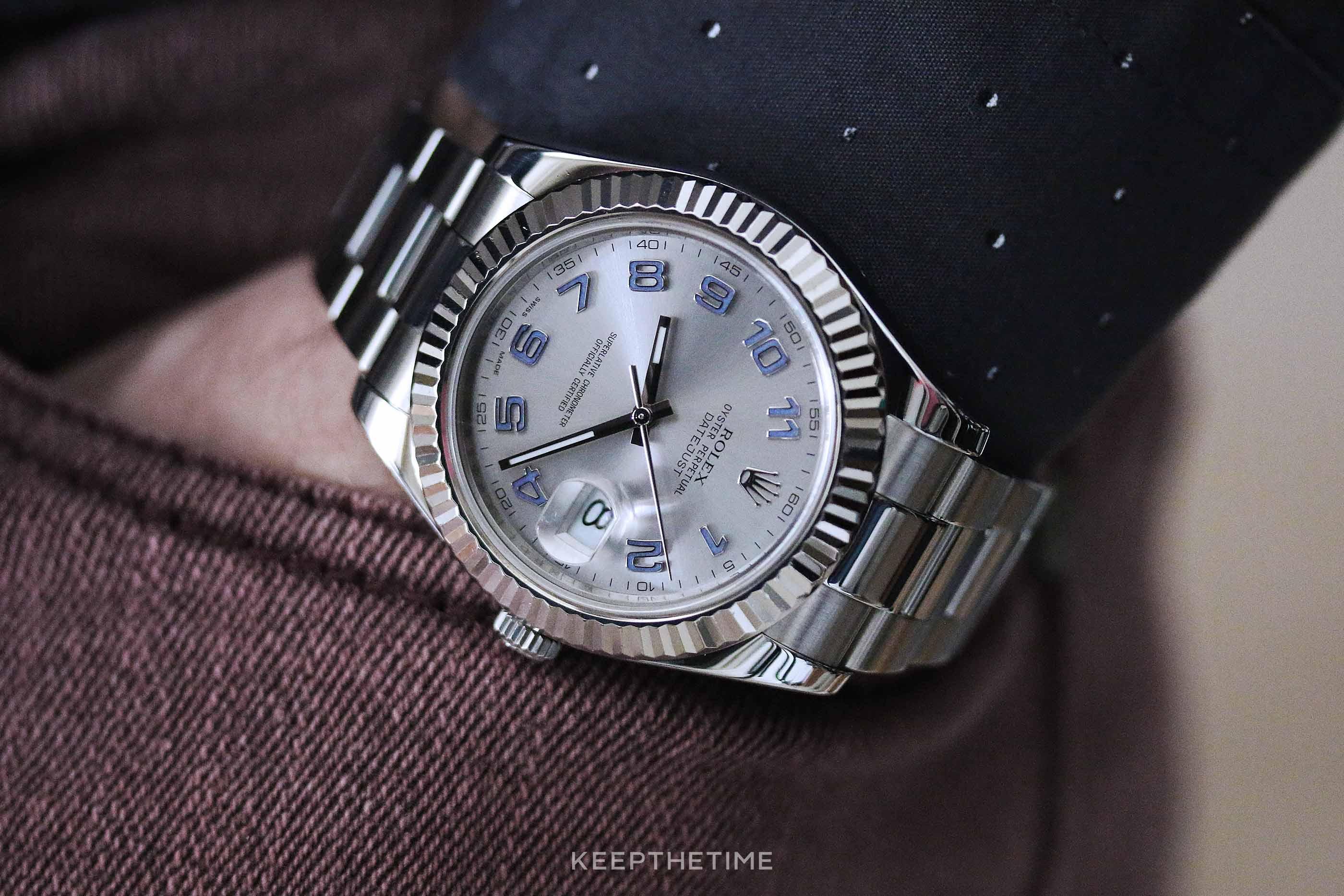 Rolex 116334 Datejust II Rhodium Arabic 18K White Gold Fluted Bezel